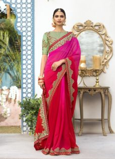 PINK N RED OMBRE PURE GEORGETTE EMBROIDERED SAREE