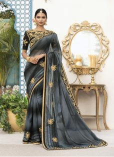 BLACK N GREY OMBRE PURE GEORGETTE DESIGNER SAREE