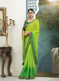 LIME GREEN OMBRE GEORGETTE EMBROIDERED SAREE