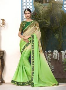BEIGE N GREEN OMBRE EMBROIDERED DESIGNER SAREE