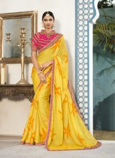 YELLOW N PINK CHIFFON EMBROIDERED DESIGNER SAREE