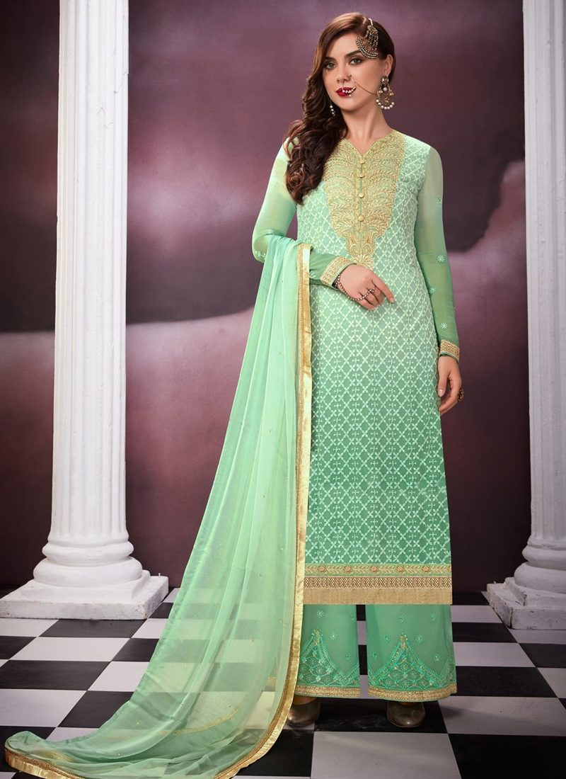 f3772e8460 GREEN GEORGETTE EMBROIDERED PARTY WEAR PALAZZO SUIT